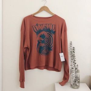 NWT O'neill Ribbed Cropped Long Sleeve Top